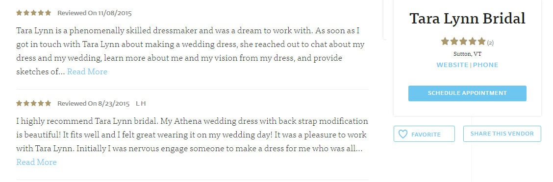 Tara Lynn Bridal Reviews