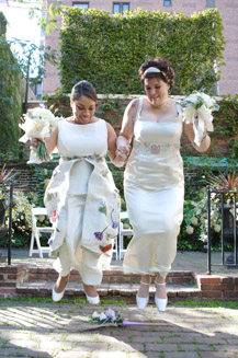Leah and Laura's Alternative Hemp Wedding Dresses and Beautiful LGBT Wedding