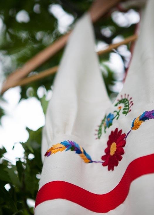 Mexican Embroidered Hemp Wedding Dress