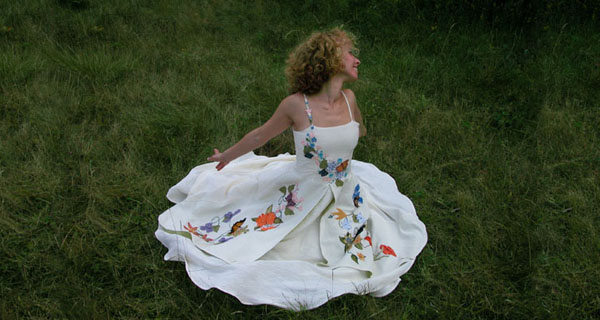 Floral Wedding Dresses with butterflies