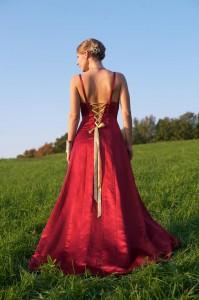Hemp silk satin wedding gown red wedding dress by Tara Lynn Bridal