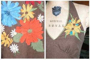 Hippie wedding dresses with custom flowers made by Tara Lynn Bridal Bohemian hemp wedding dresses