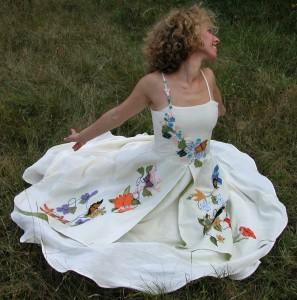 Elise's Custom Wedding Dress | Alternative Embroidered Wedding Dresses with Color | Organic Hemp Dress | Made in Vermont | Northampton, MA