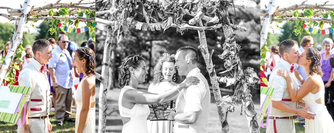 hemp wedding dress and suit for a LGBT wedding