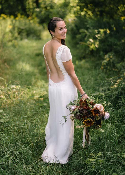 backless bohemian hemp wedding dress