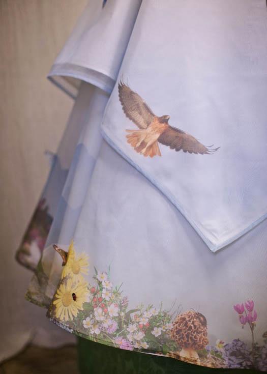 Custom printed Floral wedding dress