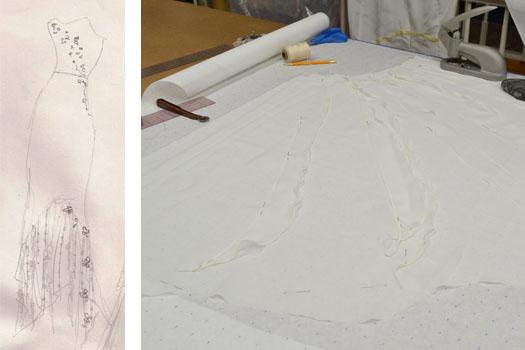 Custom wedding dress sketch and pattern