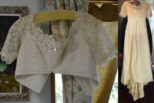 Natural Wedding Dress with Vintage Lace | made in Vermont Wedding | Hemp Wedding Dress by Tara Lynn