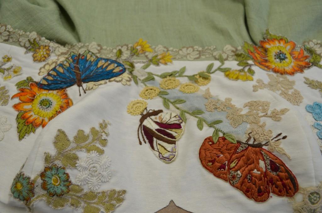 Tara Lynn makes hemp wedding dresses with embroidered butterflies