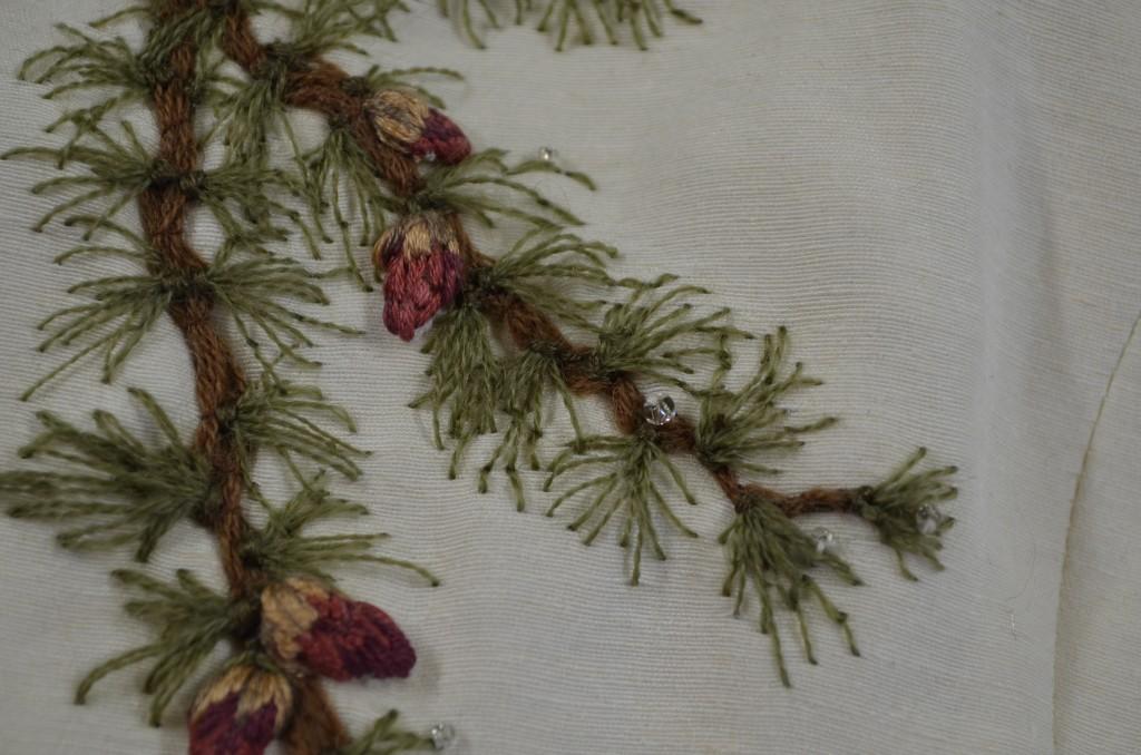 Tree embroidered wedding dress made of hemp and silk by Tara Lynn.