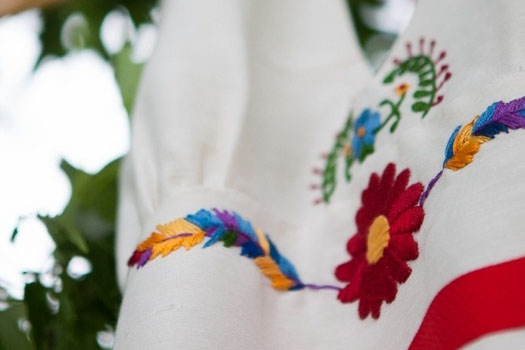Custom Mexican Embroidered Hemp Wedding Dress