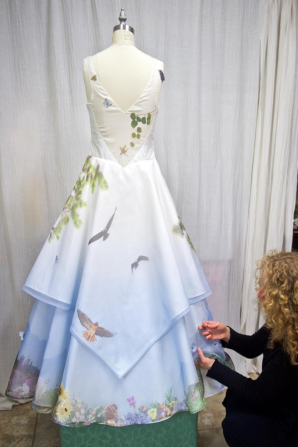 Wedding Dress Embroidered Bird