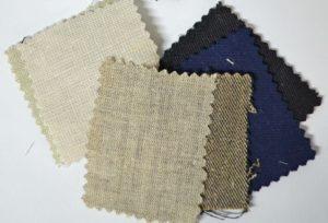 Hemp suit fabric swatches