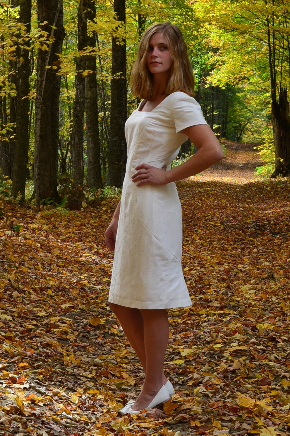 eco friendly knee length wedding dress by Tara Lynn